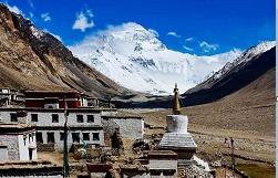 See Mt. Everest from Rongbuk Monastery.