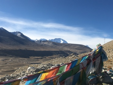 Prayer flags at the mountain pass.