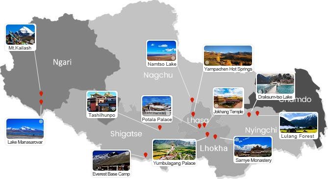 Tibet map with major scenic spots