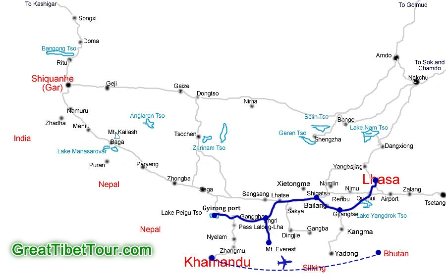 Trip route from Lhasa to Nepal and Bhutan
