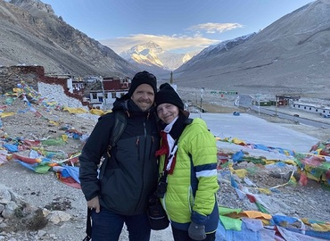 Our clients at Everest Base Camp, with Mt.Everest in the background.