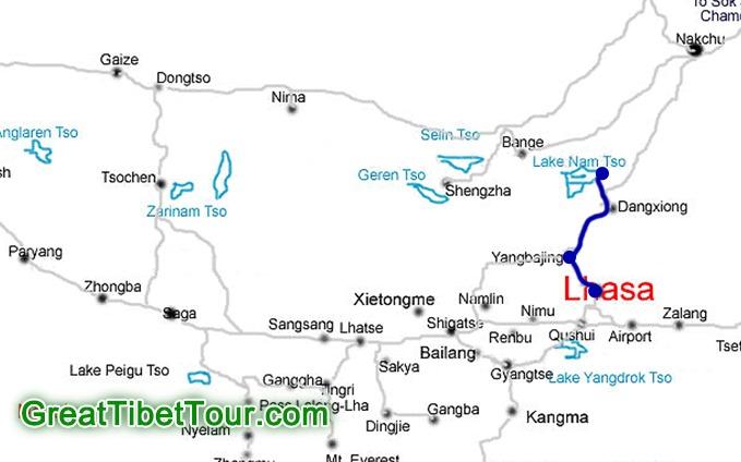 Lhasa to Namtso Lake Tour Route