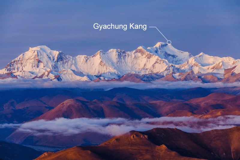 Gyachung Kang mountain on the right.