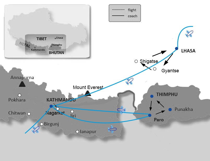 Map of Bhutan, Nepal and Tibet tour