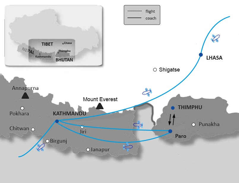 Map of Nepal Bhutan Tibet Tour