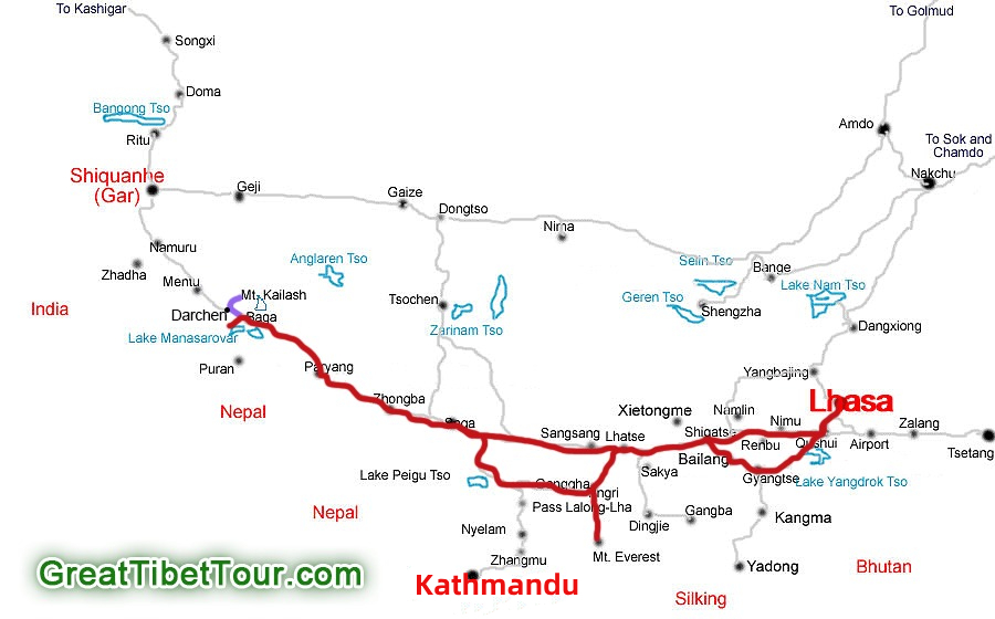 Map of Leisurely Kailash Tour Without Trekking tour