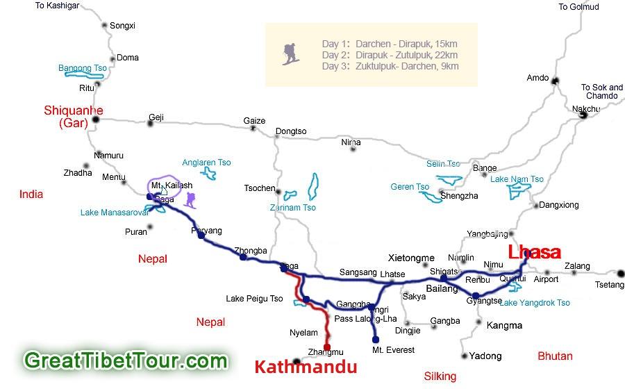Map of  Lhasa to Mt. Kailash kora tour