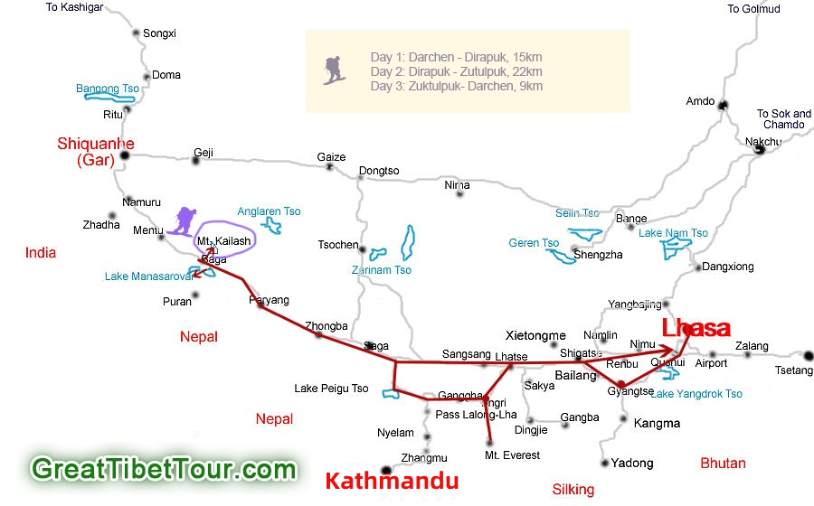 Route map of Mt Kailash Kora with Mt Everest Tour