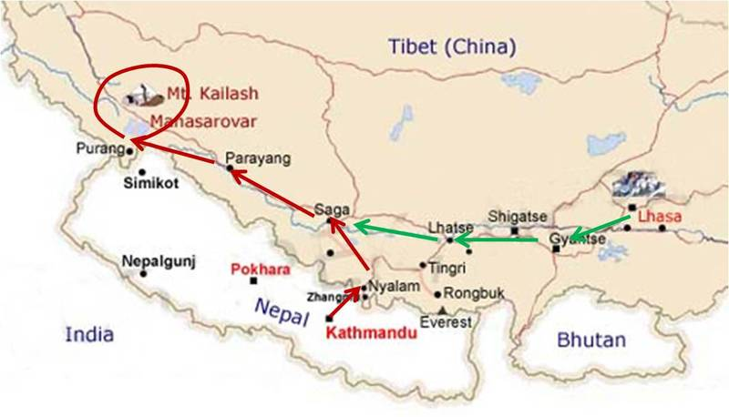 Tibet and Nepal in map.