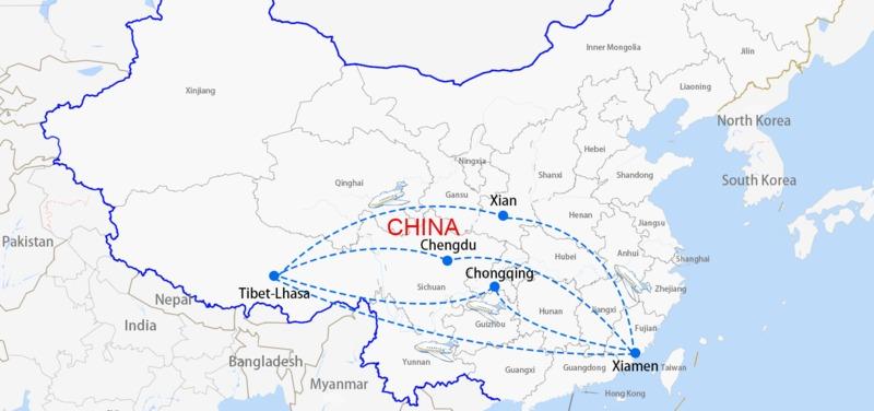 Xiamen to Lhasa air routes