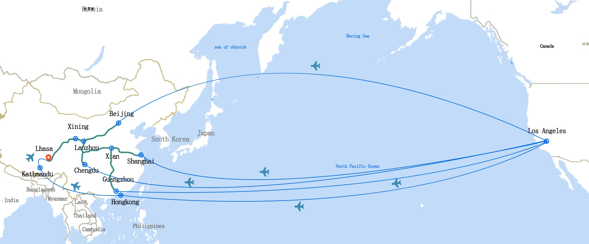 You have to fly from Los Angeles to mainland China first, then to Tibet.
