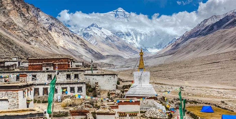 Far view of Mt.Everest from the Rongbuk Monastery.