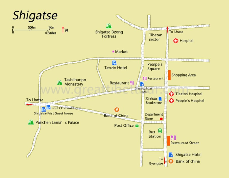 Shigatse map of downtown