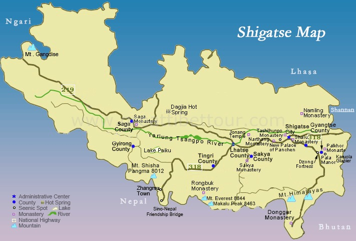 Nearby attractions and counties of Shigatse.