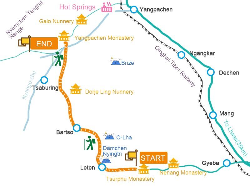 Tsurphu to Yangpachen trekking map