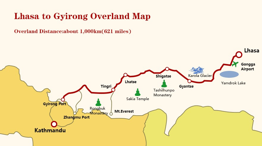 Lhasa to Gyirong overland map.