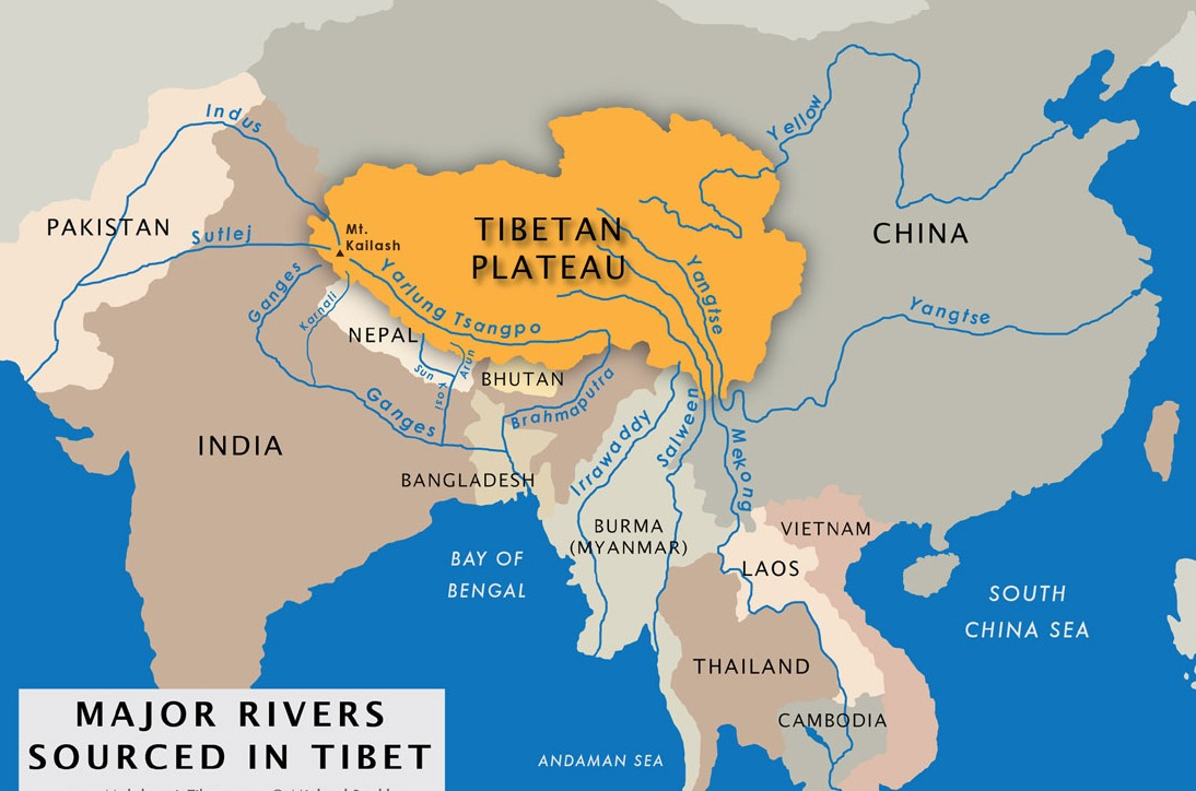 major rivers resourced in Tibet