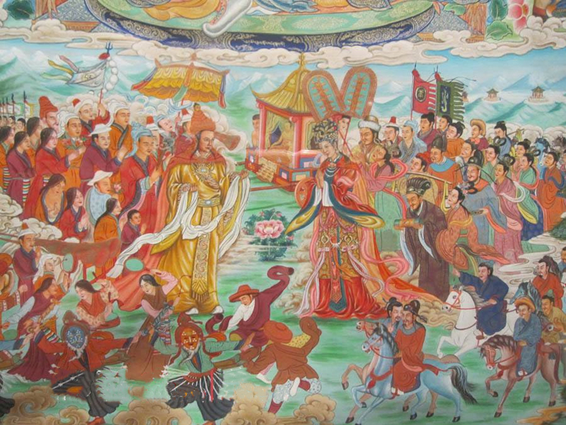 The scene of Songtsan Gambo welcome Princess Wencheng in Baihai