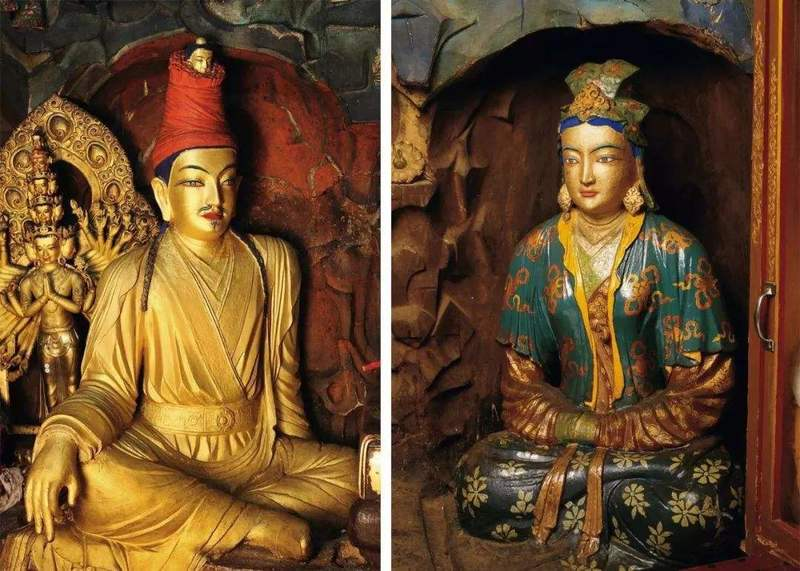 Princess Wencheng and Songtsan Gambo's statues in Potala Palace.