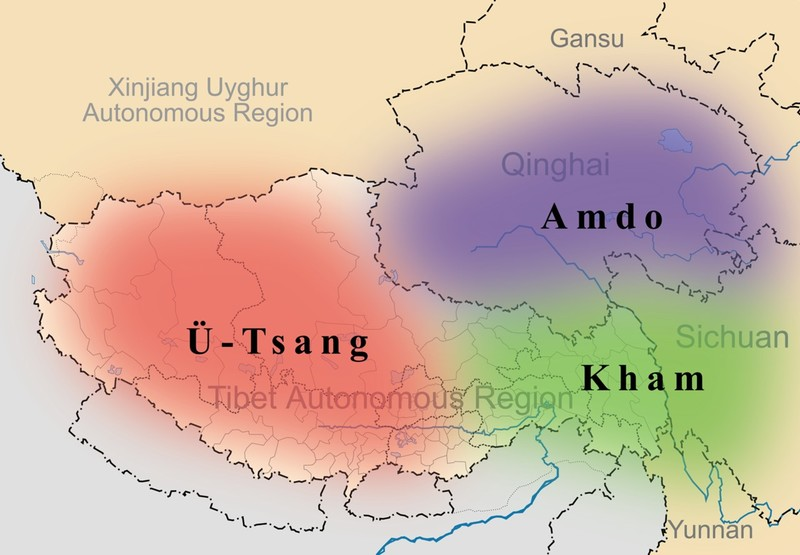 The location of Ü-Tsang,  Kham, Amdo