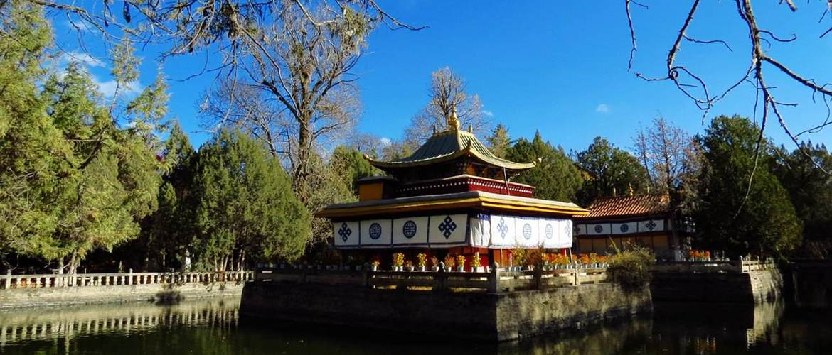 Tsokyil Phodrong are pavilions in the midst of the pond.