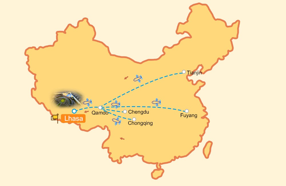 Flight routes to Qamdo Bamda Airport