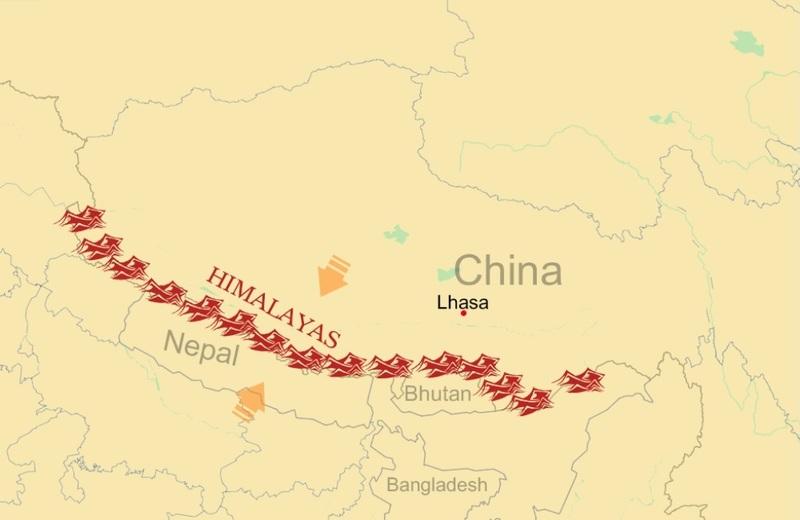 Himalaya Mountains Map