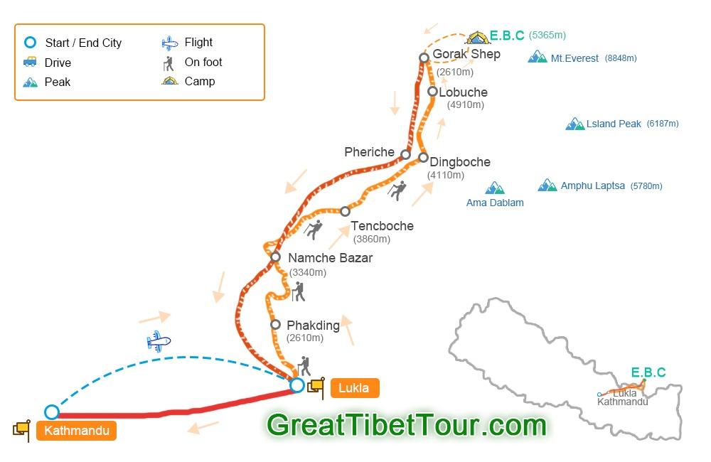 Map of everest basde camp trek in Nepal