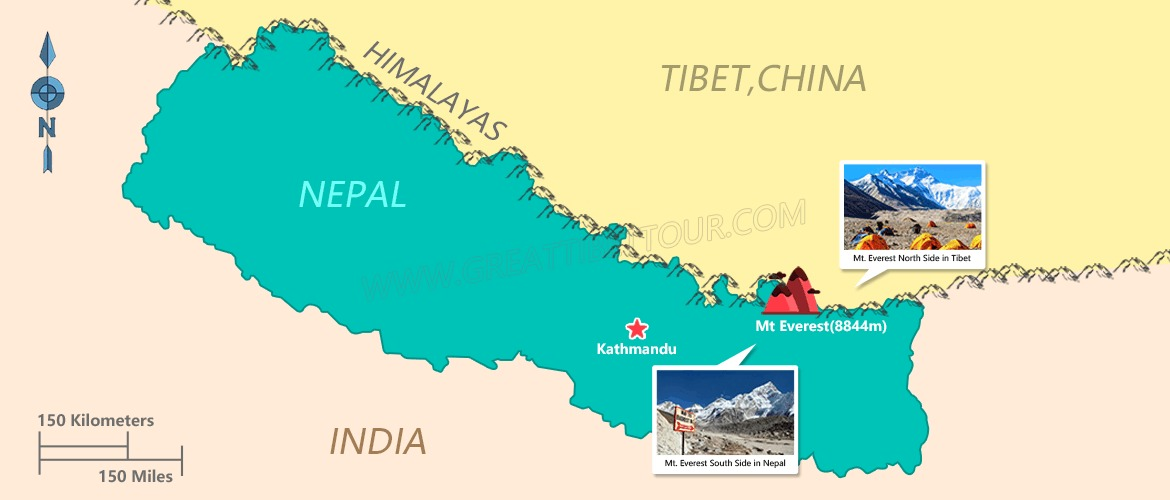 Map of Everest Base Camp in Tibet and Nepal.