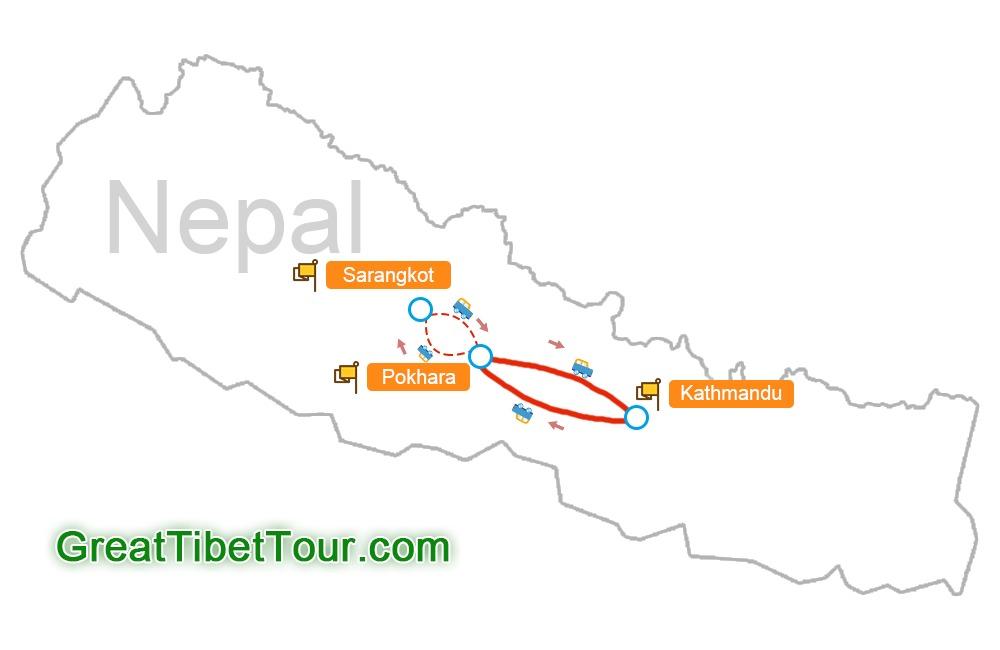 map of Natural Paradise Nepal Tour