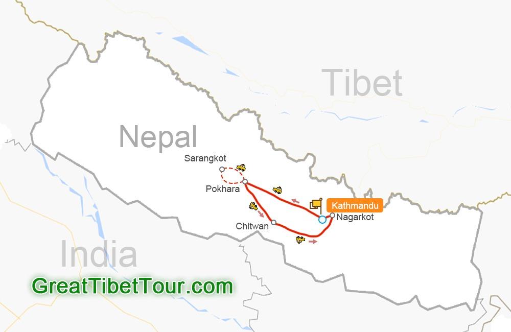 Kathmandu - Pokhara - Chitwan - Nagarkot - Bhaktapur - Kathmandu