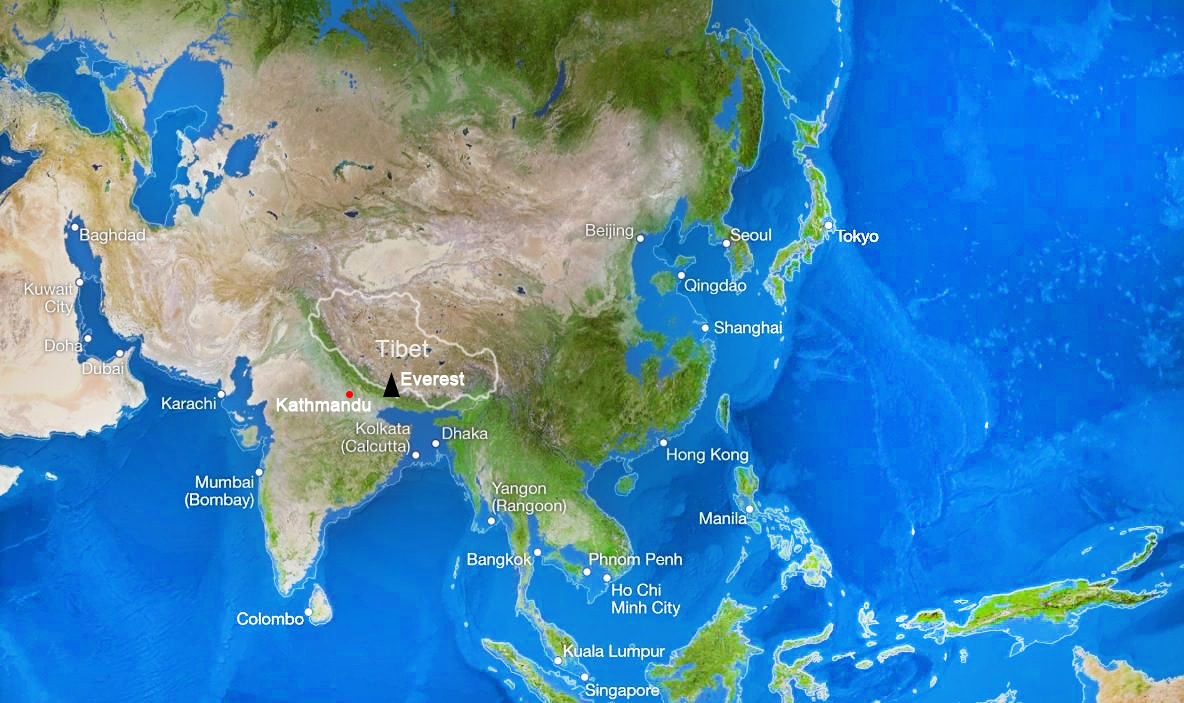Picture of: Where Is Mount Everest Located Mount Everest Map