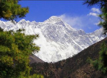 Far view Mt.Everest on the way to Namche.