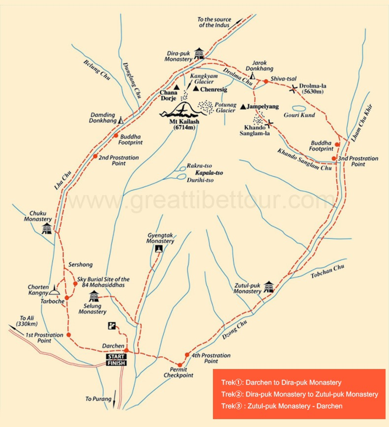 Mt.Kailash Trekking Map
