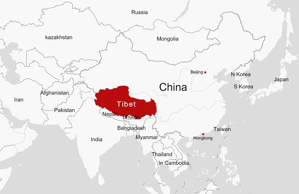 Tibet on Asia Map