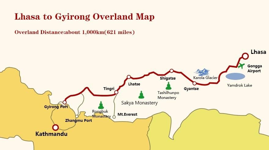 Lhasa to Gyirong overland map.