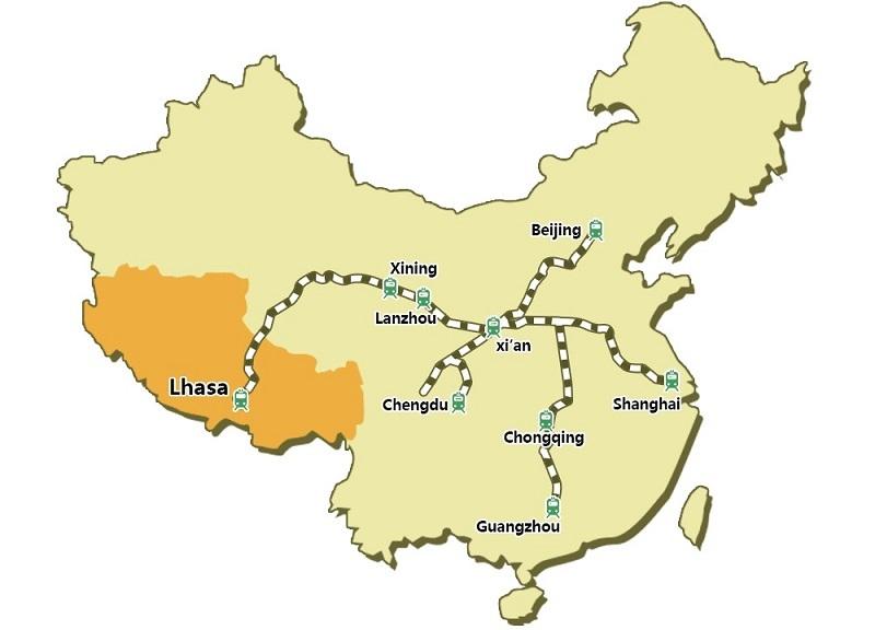 Map of Qinghai Tibet Railway lines
