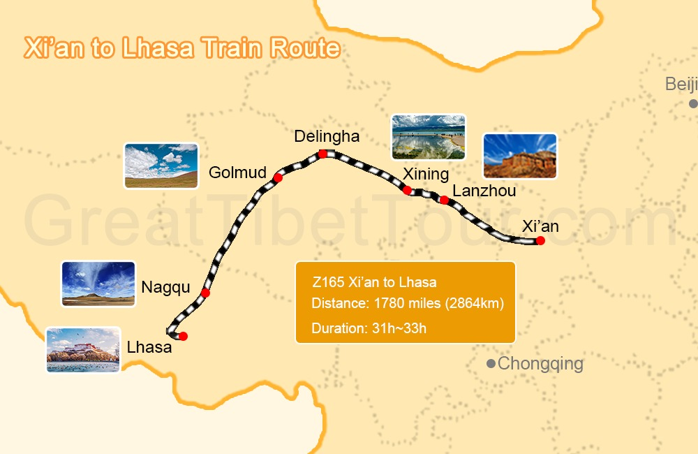 Xián to Tibet train route.