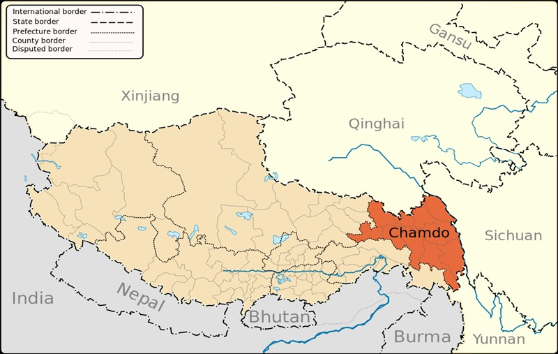 Tibet Kham Region Chamdo on the map.