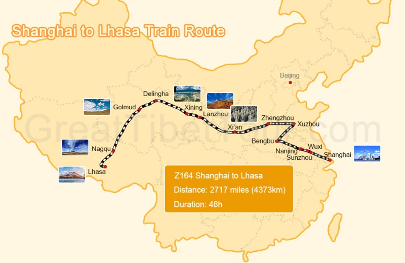 Map of Shanghai to Lhasa train route