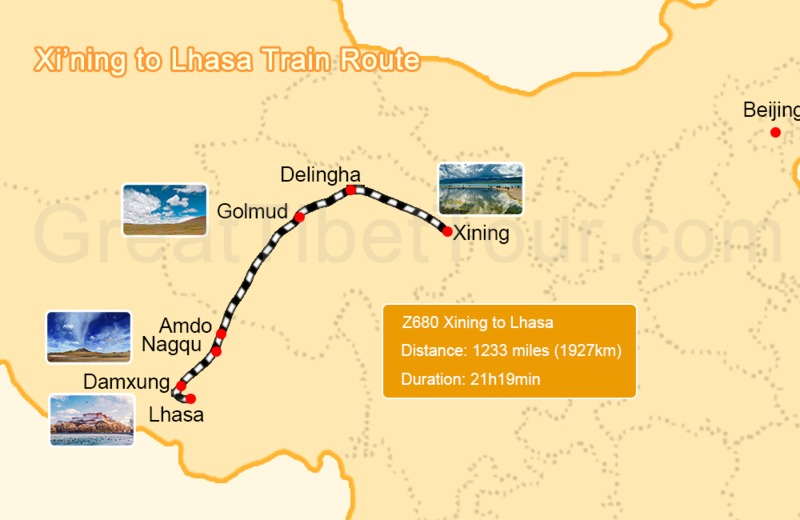 Xining to Lhasa train route