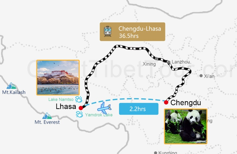 Travel map from Beijing to Lhasa