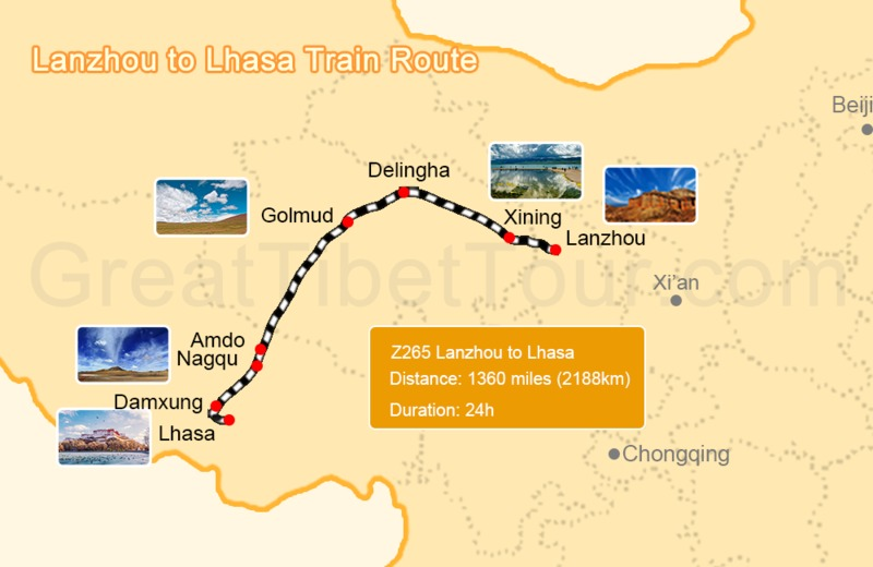map of Lanzhou to Lhasa train route