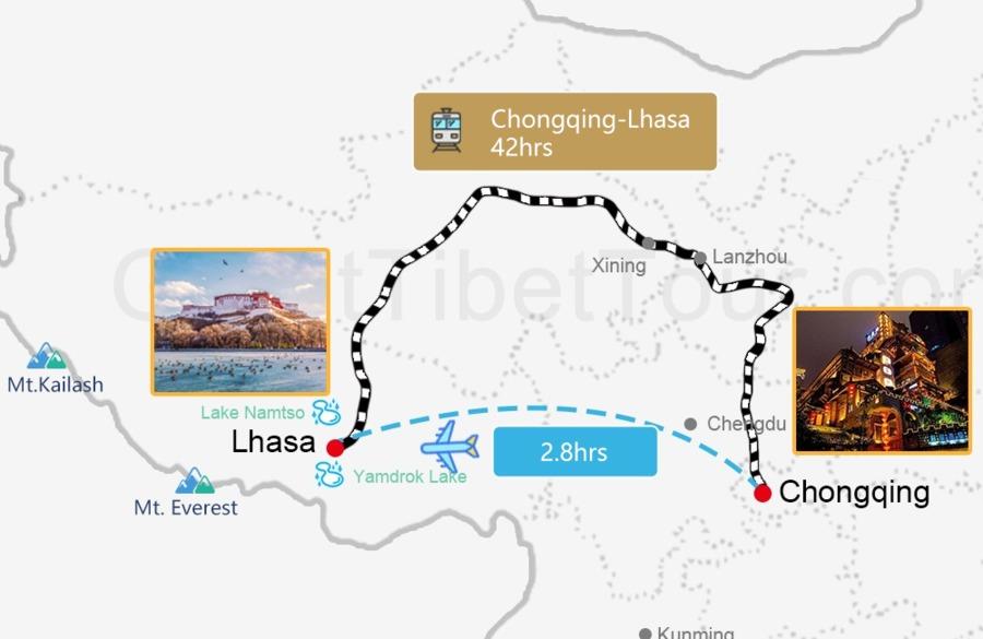 Travel map from Chongqing to Lhasa