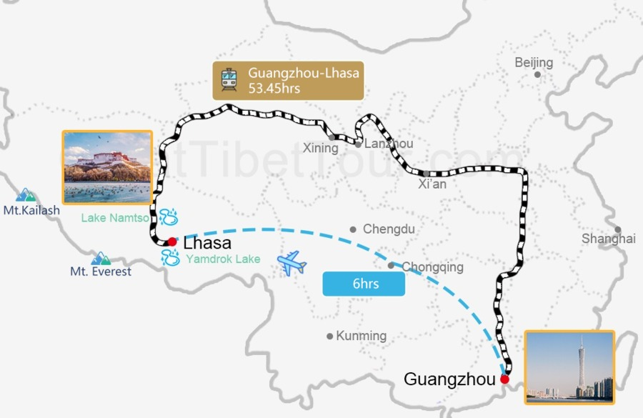 Travel map from Guangzhou to Lhasa