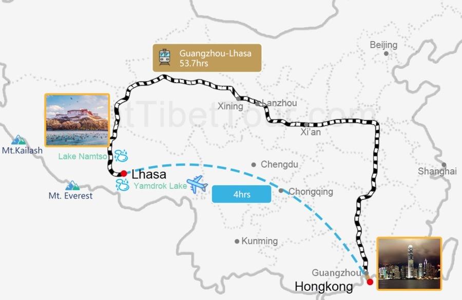 Travel map from Hongkong to Lhasa