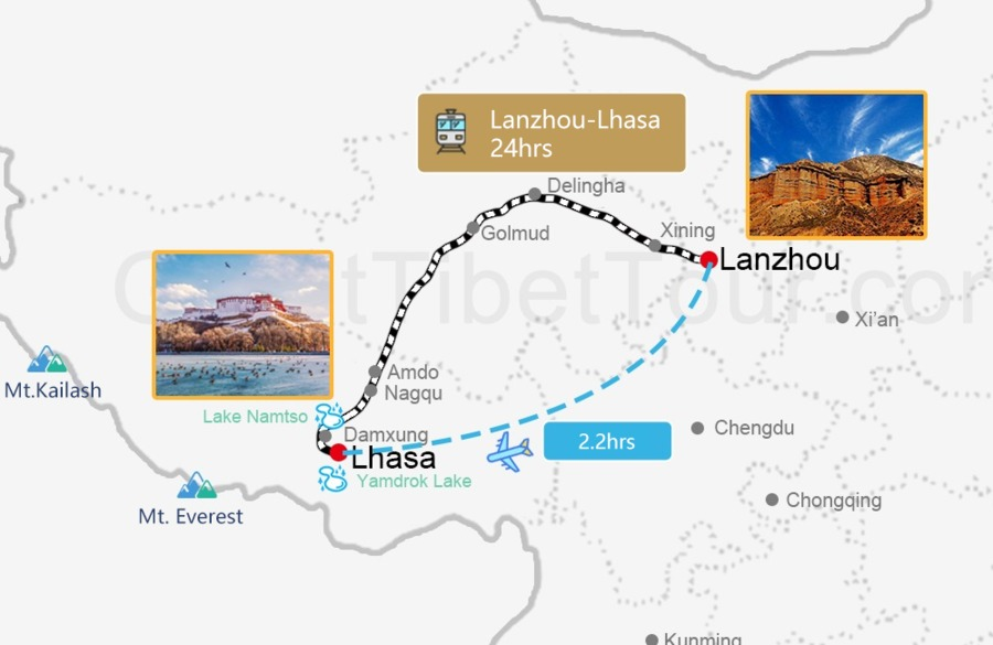 Travel map from Lanzhou to Lhasa
