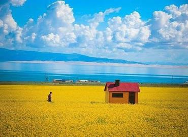 Far view Qinghai Lake from a Tibet train