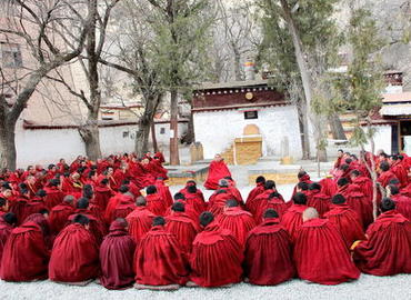 The yard for Buddhist debates at Sera Monastery.