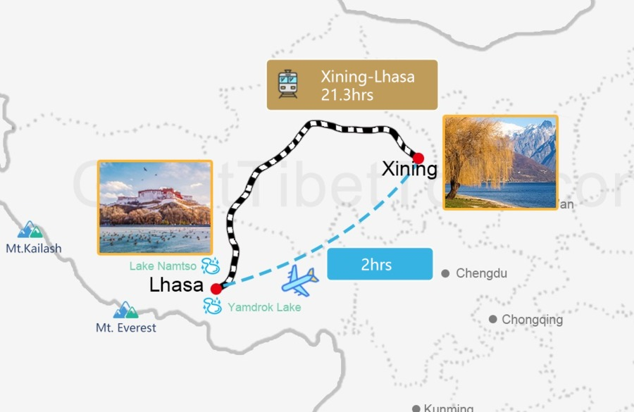 Travel map from Xining to Lhasa